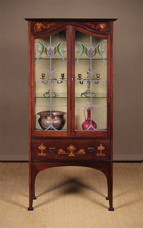 art nouveau wood mirror cabinet early 20thc cabinet vintage early 20th c mahogany display cabinet c 1905 antiques