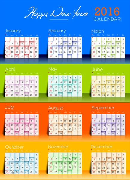 Calendar Template Illustrator by 2016 Calendar Template Free Vector In Adobe Illustrator Ai
