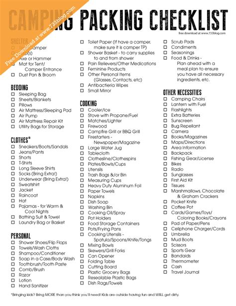 printable travel checklist for family cing packing checklist free printable free