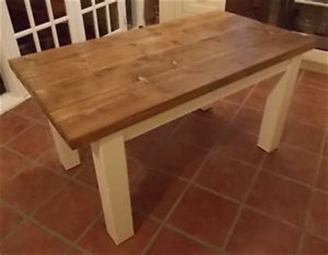 rustic solid wood plank kitchen dining table with painted