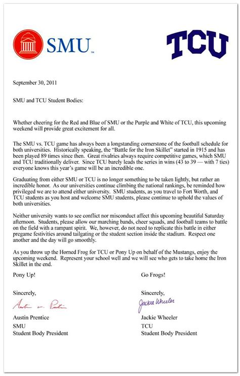 Joint Letter joint letter by student presidents for smu and tcu smu
