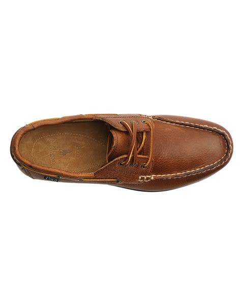 polo ralph bienne brown leather boat shoes in brown