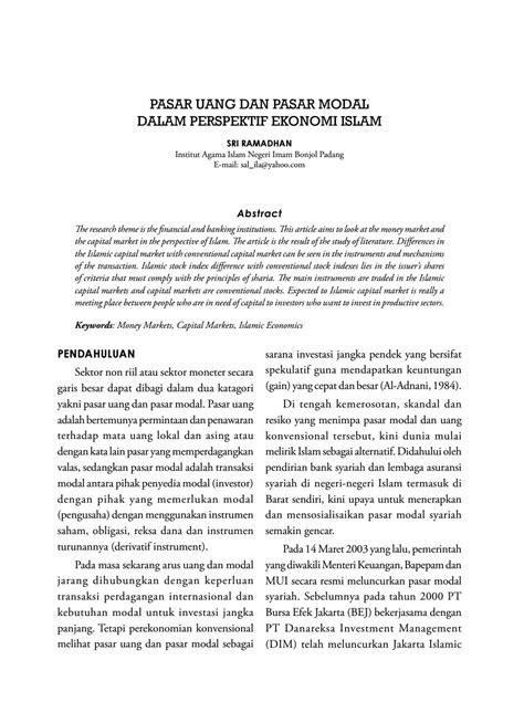 ekonomi uang perbankandan pasar keuangan 1 pasar uang dan pasar modal dalam perspektif ekonomi islam