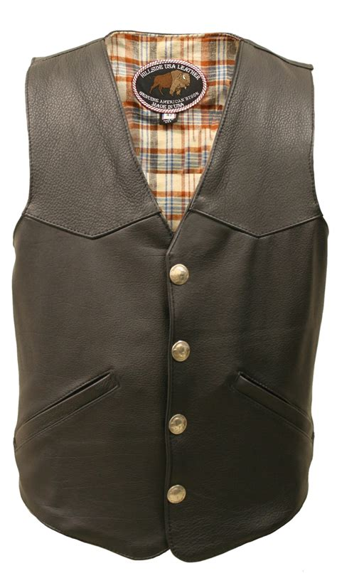 leather vest men s western style american bison leather vest