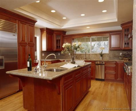 Kitchen Design Cherry Cabinets | pictures of kitchens traditional medium wood kitchens