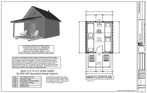 bunk room floor plans 226 12 x 14 x 8 bunk cabin plan free house plan reviews