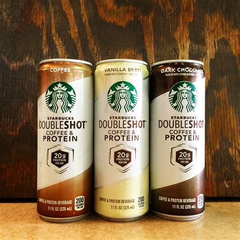 Protein Coffee starbucks doubleshot with protein 11oz coffee vanilla bean chocolate soft drinks