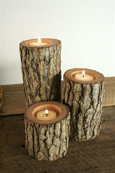 Rustic Candle Holders by Tree Branch Candle Holders Rustic Candle Sticks Log