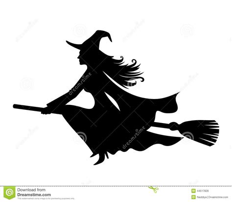witch on a broomstick vector black silhouette stock