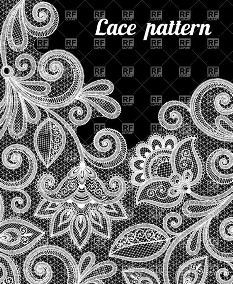 Lace Pattern Color | floral lace pattern in white color vector clipart image