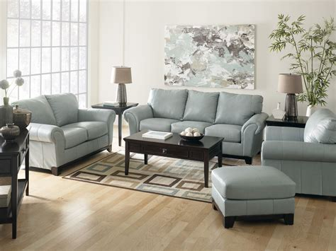 Blue Leather Chair And Ottoman Design Ideas Light Blue Leather Sofa Sets For Living Room Decorating With Brown Hardwood Flooring And