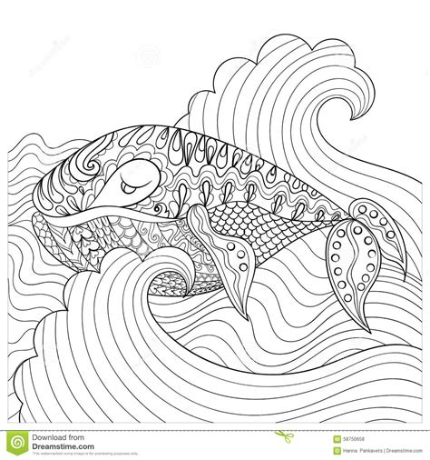 anti stress coloring book waterstones whale in the waves for antistress coloring page