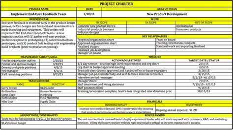 one page project charter template apa itu project charter adikristanto net