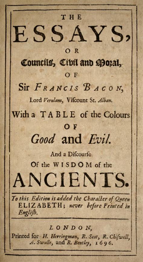 Prose Style Of Francis Bacons Essays by Essays Francis Bacon