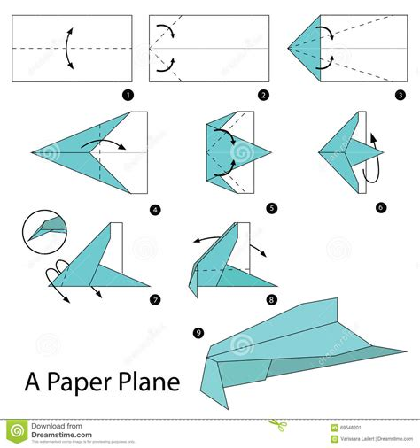 Origami Plane - step by step how to make origami a paper