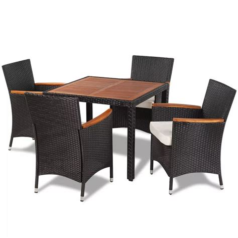 best table chair vidaxl poly rattan garden dining set with 4 chairs and