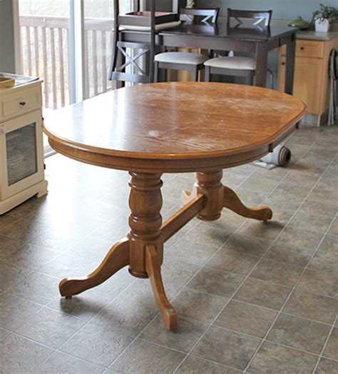 refinishing dining room table hometalk diy refinish an old oak table