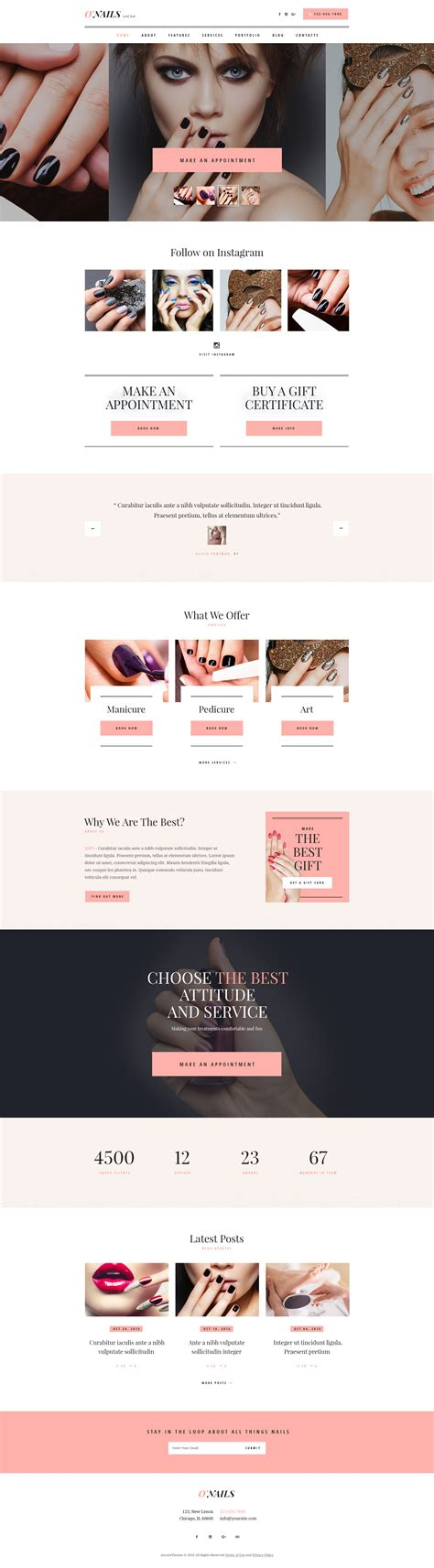 wordpress themes free nails o nails nail bar beauty salon wordpress theme by