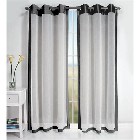 black grommet curtains shop allen roth barista 95 in l bordered black grommet
