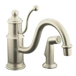 Kohler Kitchen Faucets Shop Kohler Antique Vibrant Brushed Nickel 1 Handle Low Arc Kitchen Faucet At Lowes