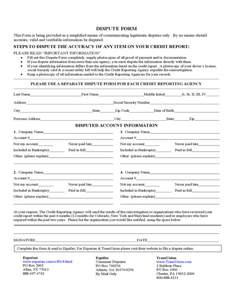 Credit Dispute Form Template Credit Report Dispute Form Free