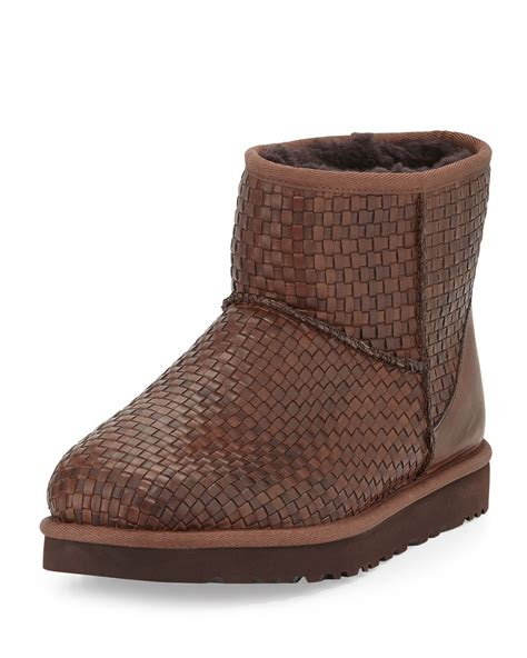 woven boots lyst ugg woven leather mini boot in brown