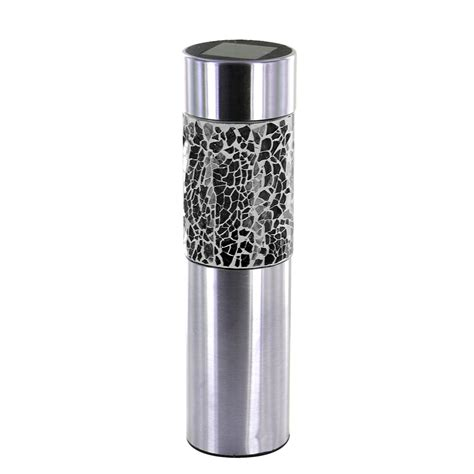 Led Solar Powered Outdoor Lights Stainless Steel Solar Powered Mosaic Led Garden Lights Outdoor Post Bollard L Ebay