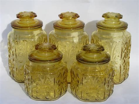 vintage glass canisters kitchen vintage kitchen canisters glass canister jars set w airtight seals