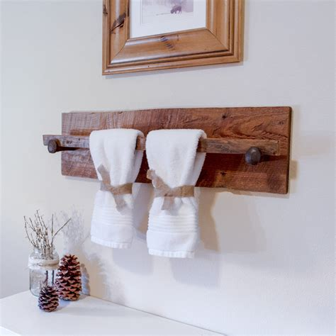 rustic bathroom towel racks rustic wood towel rack large reclaimed towel hanger with