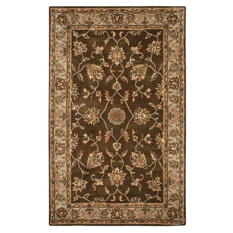 home depot wool area rugs rizzy home volare brown border tufted wool 3 ft x 5 ft area rug volvo114500120305 the