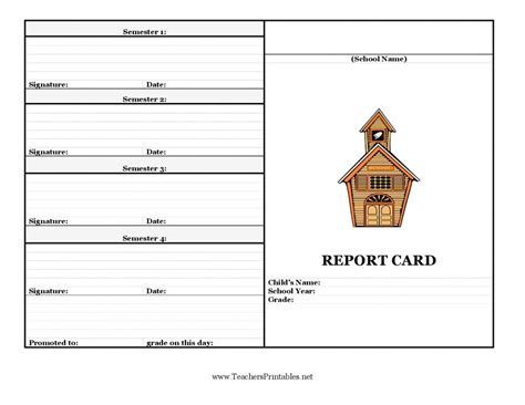 %name High School Report Card Template Word