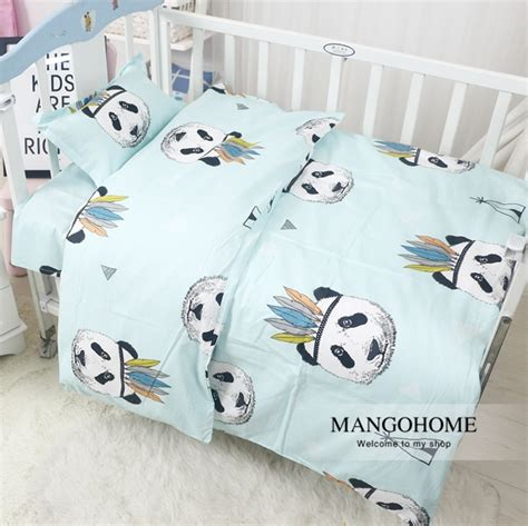 panda crib bedding 3pcs set new design baby bedding set crib cotton bedding