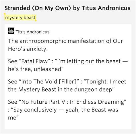 mystery lyrics mystery beast stranded on my own lyrics meaning