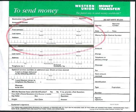 western union money transfer receipt sle send money