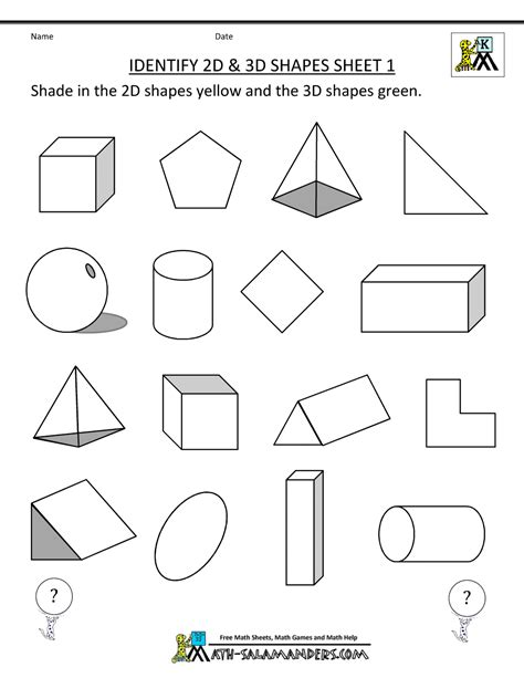 Printable Geometry Worksheets by 3d Shapes Worksheets