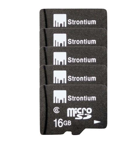 Micro Sd V 16 Giga Strontium 16 Gb Micro Sd Card Class 6 Pack Of 5 Memory Cards At Low Prices Snapdeal