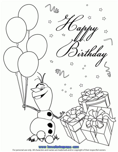 frozen coloring pages olaf in summer happy olaf coloring page disney frozen birthday coloring