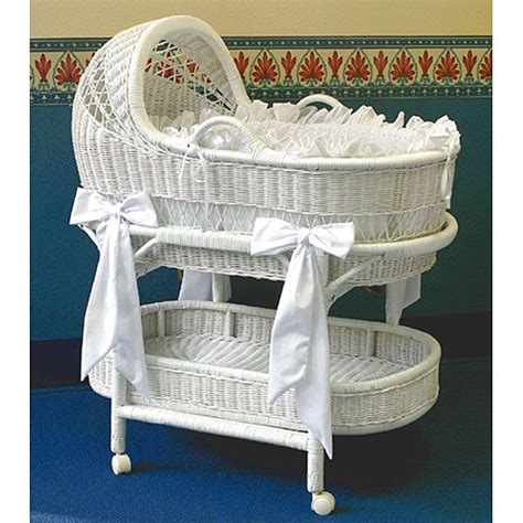 La Baby Wicker Bassinet And Bedding Set Overstock Wicker Crib Bedding Sets