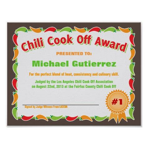chili cook award certificate template free chili cook printable ballots invitations