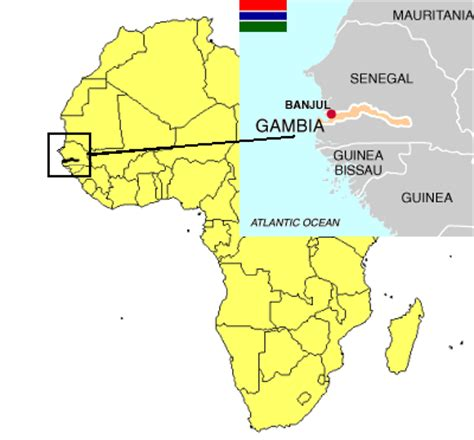 africa map gambia the gambia