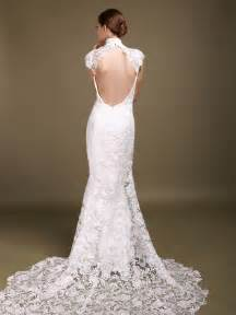 Backless mermaid wedding dress with lace cap sleeves sizes available