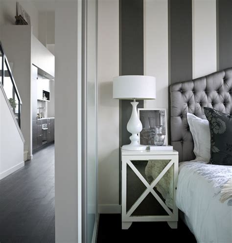 striped walls bedroom black and white bedroom transitional bedroom