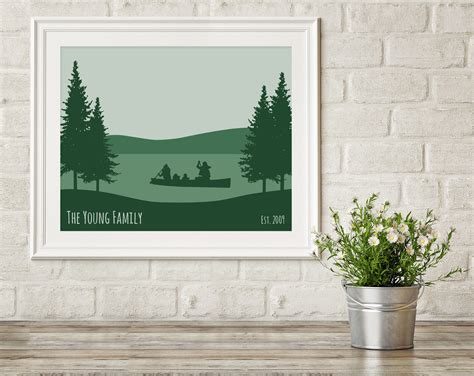 lake house wall art custom family canoe print wild blue dream