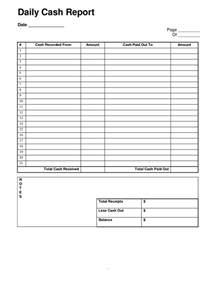 daily cash report template sample designed by