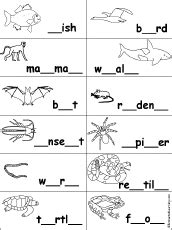 fill in the missing letters in words at enchantedlearning com