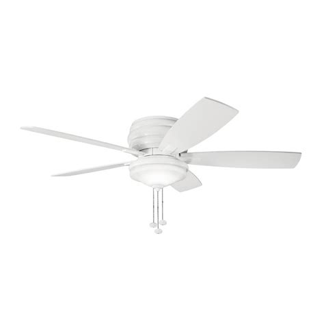 Flush Mount Ceiling Fans With Lights Shop Kichler Lighting Windham 52 In White Flush Mount Indoor Ceiling Fan With Light Kit 5 Blade