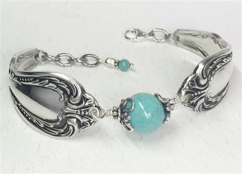how to make flatware jewelry spoon bracelet with turquoise magnesite silverware jewelry