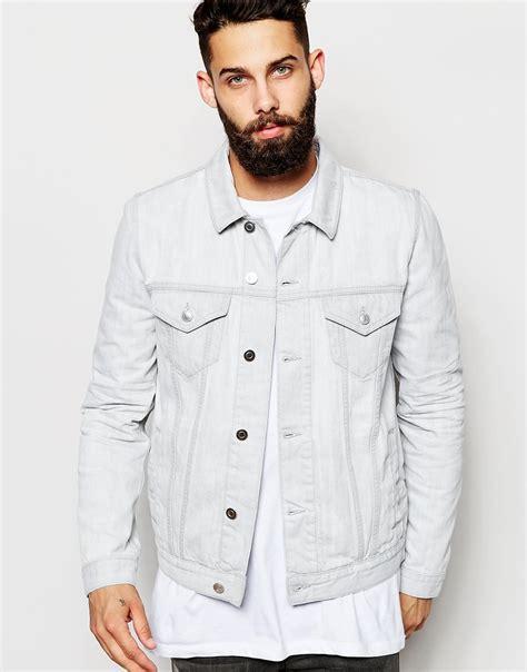 Jaket Denim White asos slim fit denim jacket in white in for lyst