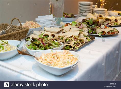 food buffet table at a wedding reception in the uk stock
