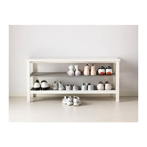 white shoe rack bench tjusig bench with shoe storage white 108x50 cm ikea